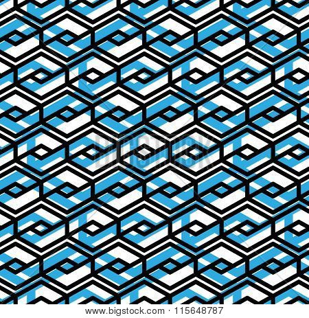 Colorful Geometric Overlay Seamless Pattern, Symmetric Endless Vector blue Background