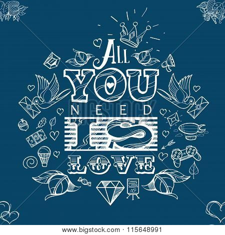 All you need is love - seamless vector pattern