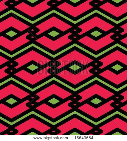 Red Geometric Seamless Pattern, Symmetric Endless Vector Background With Intertwine Lines.