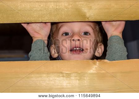 Child Boy Playing Barn