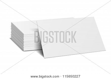 Stack of blank business card on white background with soft shadows. Vector illustration. EPS10.