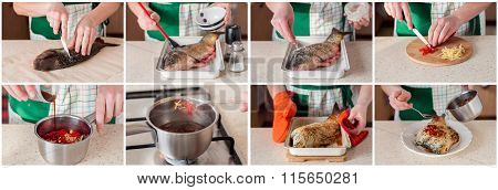 A Step By Step Collage Of Making Asian Style Baked Carp