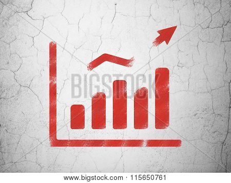 Advertising concept: Growth Graph on wall background