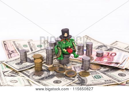 Greedy Leprechaun On The Pile Of Money With Coins
