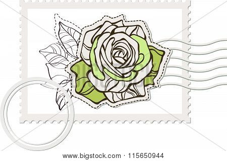 blank post stamp with rose . Vintage style