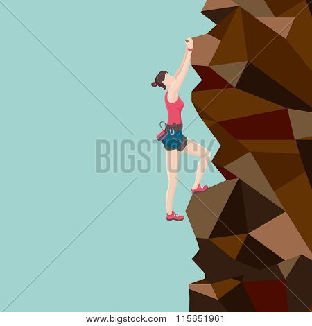 Girl is climbing on a rock