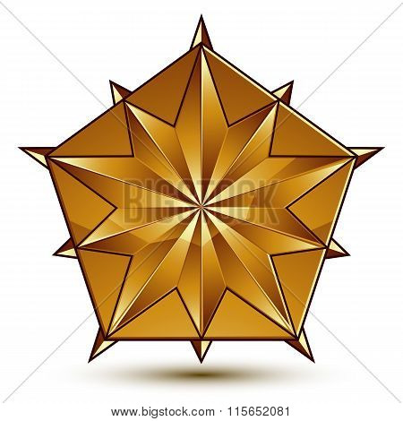 Sophisticated Vector Golden Star Emblem, 3D Decorative Design Element, Clear Eps 8.