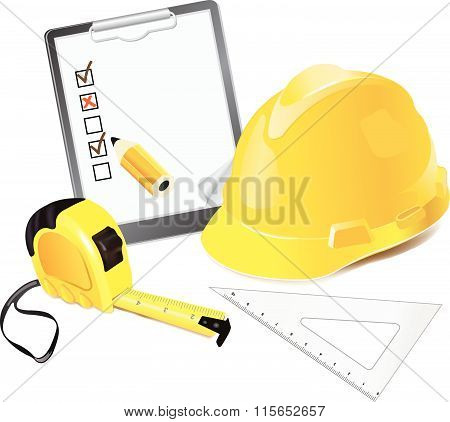 Construction Concept. Helmet, pencil and rulers.
