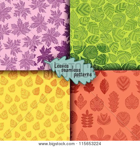 Set of seamless patterns with different tree leaves such as oak and maple, chestnut and birch, aspen