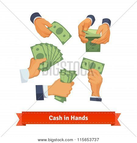 Hand poses counting, taking and showing green cash