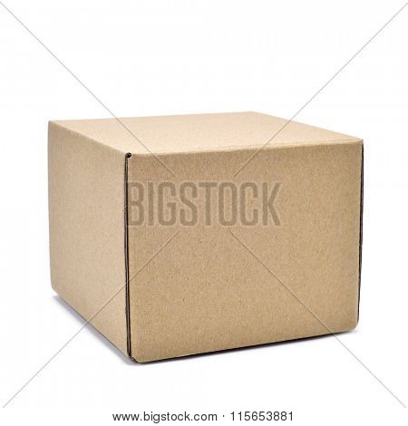 a square brown cardboard box on a white background