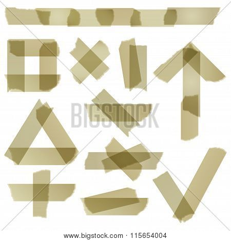 Set Of Scotch Tape Slices Isolated On White Background
