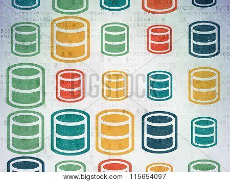 Database concept: Database icons on Digital Paper background