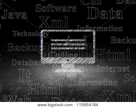 Programming concept: Monitor in grunge dark room