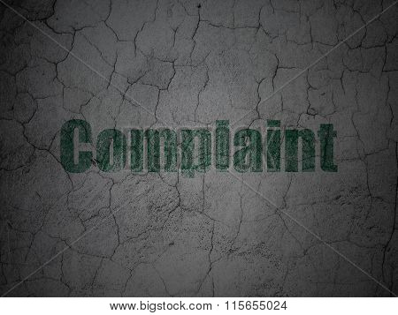 Law concept: Complaint on grunge wall background