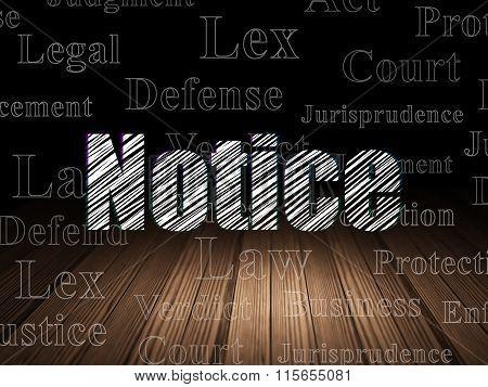 Law concept: Notice in grunge dark room