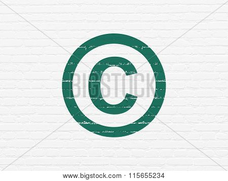 Law concept: Copyright on wall background