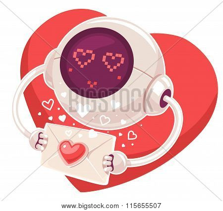 Vector Illustration Of Robot With Envelope And Red Heart On White Background. Art Design For Valenti