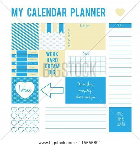 Planner page with stickers,printable files. Vector printable boxes,half boxes,motivation quotes, in