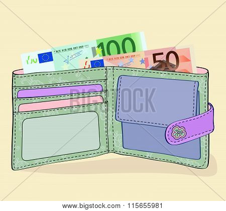 Vector - Illustration of wallet with 50 and 100 Euro bills
