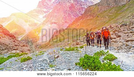 Group of people walking on trail