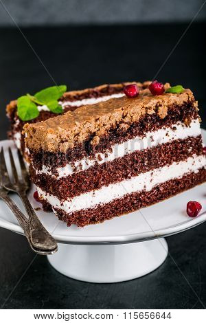 Chocolate Cake Stuffed With Whipped Cream And Crunchy Topping