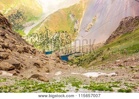 Mountain lake view in Fan Mountains of Tajikistan