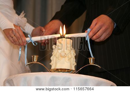 The Bride And Groom Light One Candle Family