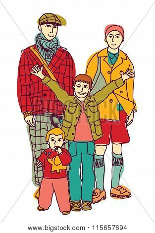 Homosexual gay lgbt family couple and kids.