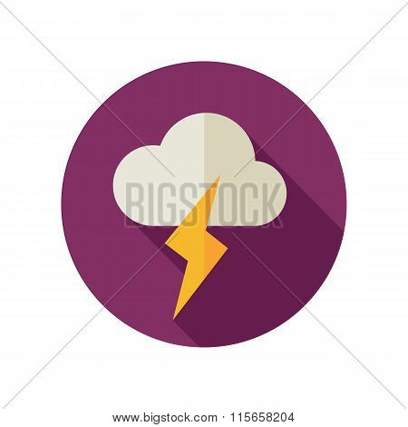 Cloud Lightning Flat Icon. Meteorology. Weather