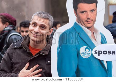 Protestor Ironic With Premier Renzi