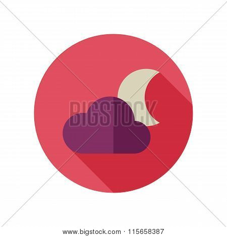 Cloud Moon Flat Icon. Meteorology. Weather