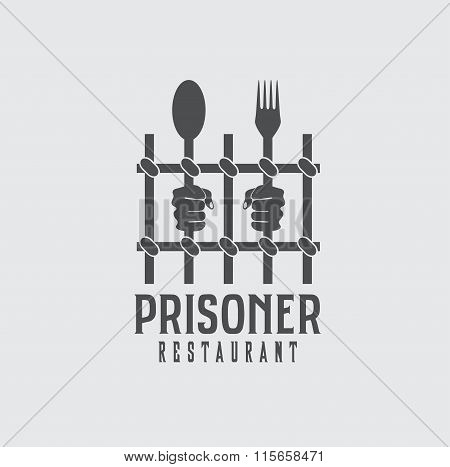 Prisoner Restaurant Concept Vector Design Template