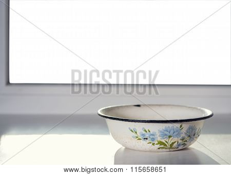 Vintage Cup On The Window With Isolated Background