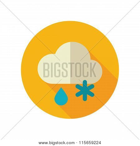 Cloud Snow Rain flat icon. Meteorology. Weather