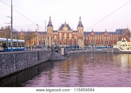 Central Station in Amsterdam the Netherlands at twilight