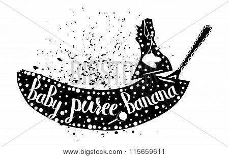 Baby food from banana on a white background. Baby puree.Vector