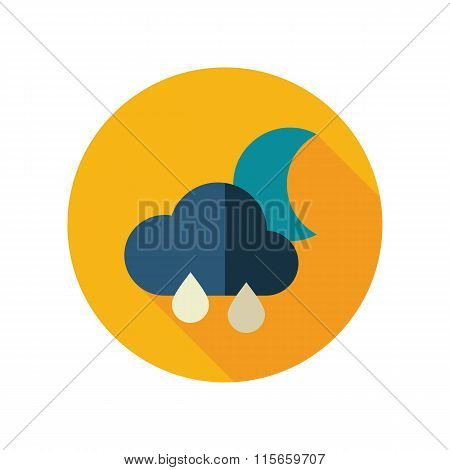Rain Cloud Moon flat icon. Meteorology. Weather