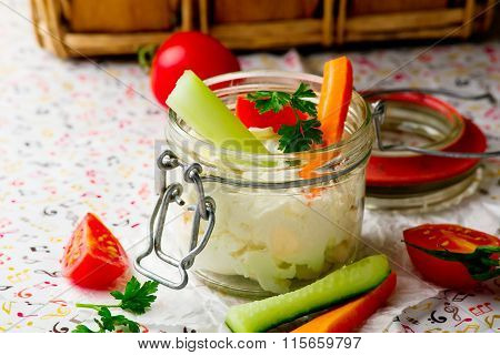 Cheese Dip With Fresh Vegetables For Picnic