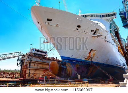 Mariner of the Seas large cruise ship is docked in the dry dock