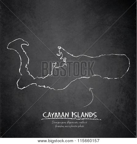 Cayman Islands map blackboard chalkboard vector Grand Cayman