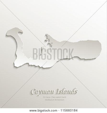 Cayman Islands map card paper 3D natural vector Grand Cayman