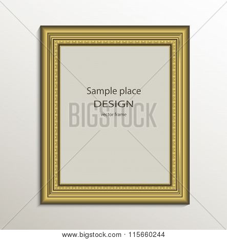 Frame image card paper 3D gold vertical vector