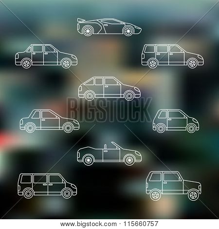 White Outline Various Body Types Of Cars Icons Set.