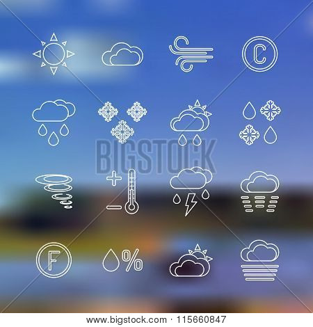White Outline Forecast Icons Set Landscape Background.