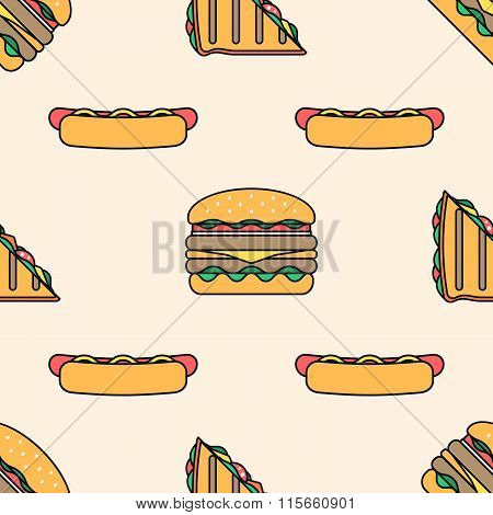 Hot Dog Club Sandwich Burger Colored Outline Seamless Pattern.