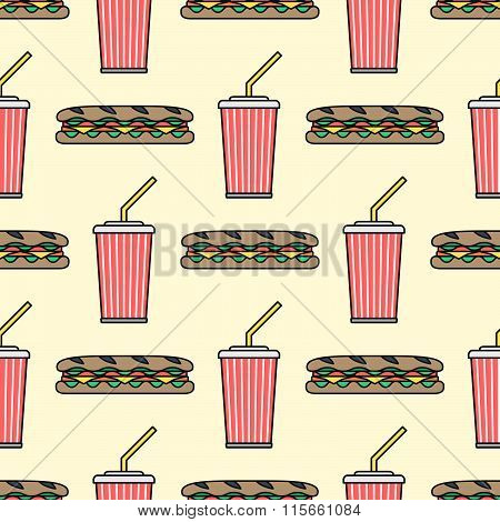Sub Sandwich Cola Cold Drink Paper Cup Colored Outline Seamless Pattern.