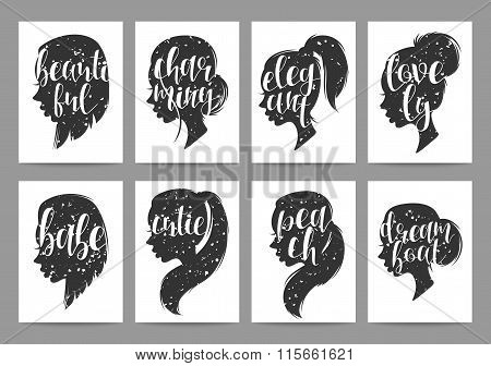 Set templates womens elegant silhouettes with different hairstyles and calligraphy