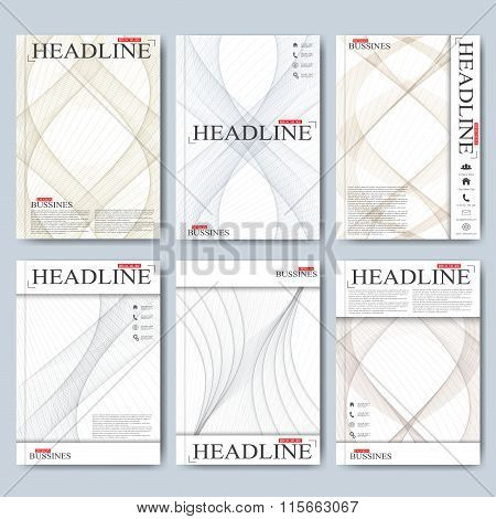 Modern vector templates for brochure, flyer, cover magazine or report in A4 size. Business, science,