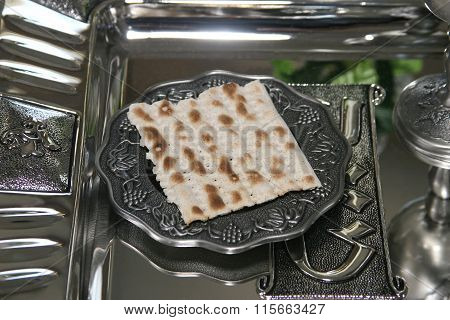 Slice Of Dry Bread On A Silver Tray
